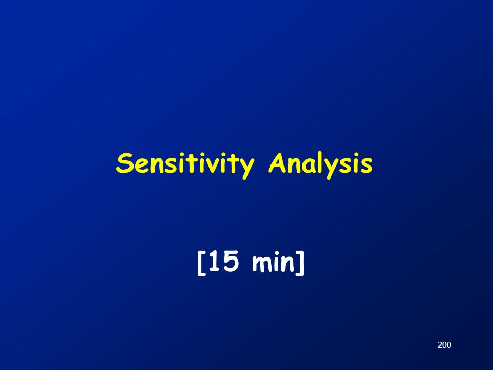 Sensitivity Analysis [15 min]